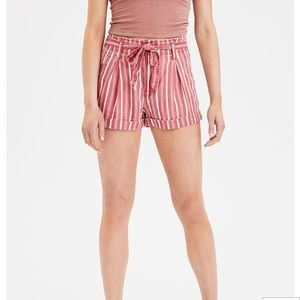 High Waisted Red & White Striped Paper Bag Short 2
